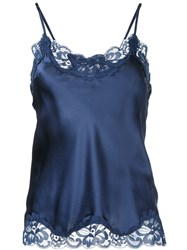 Gold Hawk Lace Trim Cami Top Blue