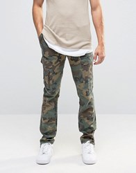 Asos Camo Skinny Chinos In Linen Mix Khaki Green