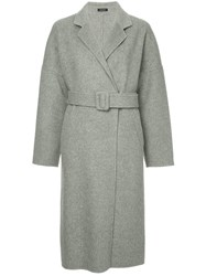 Loveless Belted Single Breasted Coat Grey