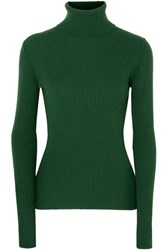 Hillier Bartley Ribbed Cashmere Turtleneck Sweater Forest Green