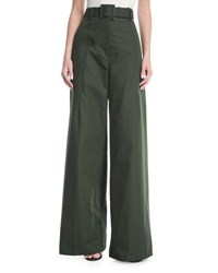 Oscar De La Renta Wide Leg Cotton Trousers Olive
