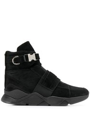 Balmain Faust Mesh And Leather High Top Sneakers Black