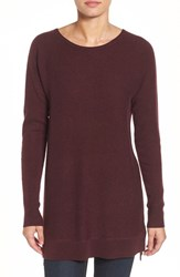 Halogenr Petite Women's Halogen High Low Wool And Cashmere Tunic Sweater Burgundy Stem