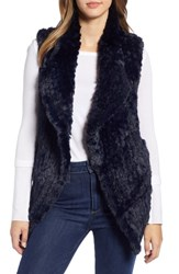 Love Token Faux Fur Vest Navy