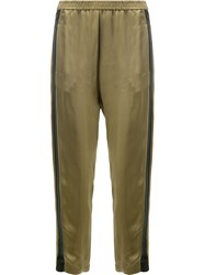 Ilaria Nistri Contrast Side Stripe Cropped Trousers Women Polyester Viscose 42 Green