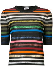 Sonia Rykiel Short Sleeve Striped Rainbow Sweater Black