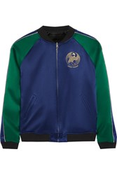 Opening Ceremony Reversible Embroidered Silk Satin Bomber Jacket Navy Emerald