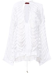 Di Liborio Slashed Oversized Jacket White