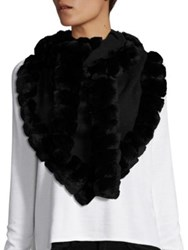 Glamourpuss Bohemian Rabbit Fur Trimmed Scarf Jet Black