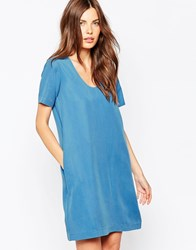 Ganni Short Sleeve Scoop Neck Dress Blue