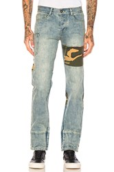 C2h4 Camo Patchwork Stonewashed Jean Washed Blue