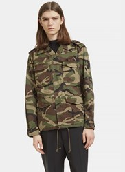 Saint Laurent Love Force Camouflage Military Jacket Khaki