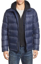 Men's Black Rivet Quilted Down Puffer Jacket With Removable Knit Hooded Zip Bib Navy