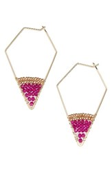Panacea Women's Crystal Hoop Earrings Pink