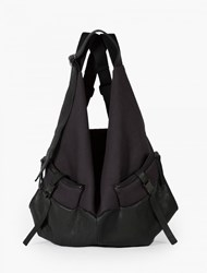 Cote And Ciel Black Leather And Canvas Ganges Backpack