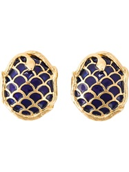 Yves Saint Laurent Vintage Snake Enamel Earrings Blue