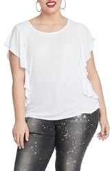 Rachel Roy Plus Size Greta Flutter Sleeve Top White