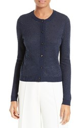 Milly Women's Hexagon Knit Cardigan Navy