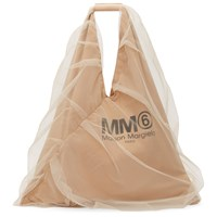 Maison Martin Margiela Mm6 Beige Tulle Covered Triangle Tote