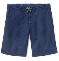 Brunello Cucinelli Linen And Cotton Blend Canvas Drawstring Shorts Navy