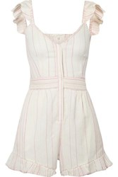 Loveshackfancy Lucy Embroidered Cotton Voile Playsuit Ivory