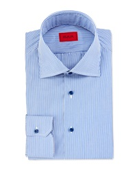 Isaia Mini Bengal Stripe Dress Shirt Blue White