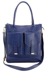 Erica Anenberg Madison Genuine Leather Tote Blue
