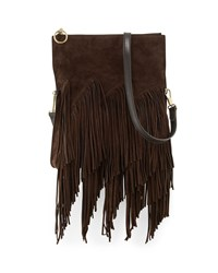 Andrew Suede Fringe Clutch Bag Chocolate Elizabeth And James