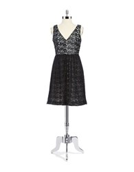 French Connection Lace And Tulle A Line Cocktail Dress Black
