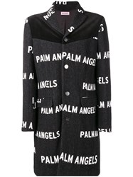 Palm Angels All Over Logo Printed Coat Grey