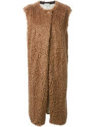 Forte Forte Sleeveless Furry Coat Nude And Neutrals