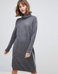 Selected Roll Neck Jumper Dress Grey