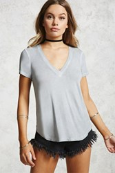 Forever 21 Faded Wash Deep V Neck Tee