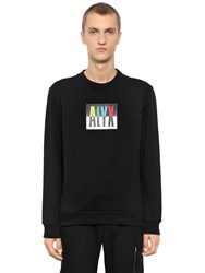 Alyx Color Block Logo Cotton Blend Sweatshirt Black