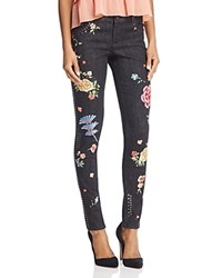 Alice Olivia Jane Embroidered And Studded Skinny Jeans In Washed Black Washed Black Multi