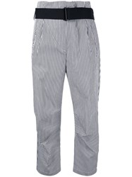 Rag And Bone Striped Cropped Trousers White