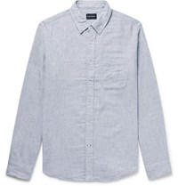 Club Monaco Button Down Collar Double Faced Brushed Cotton Shirt Light Gray