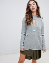 Lost Ink Swing Jumper With Sequin Embellishment In Chunky Knit Grey