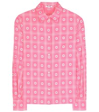 Miu Miu Embroidered Cotton Blouse Pink