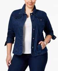 Charter Club Plus Size Dot Print Denim Jacket Only At Macy's Medium Blue Combo