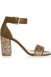 J.Crew Collection Glittered Leather Sandals Green