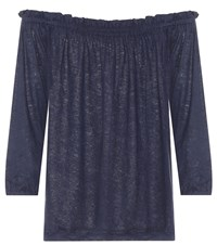 81 Hours Pin Off The Shoulder Linen Top Blue
