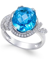 Macy's Swiss Blue Topaz 4 9 10 Ct. T.W. And White Topaz 1 3 Ct. T.W. Ring In Sterling Silver