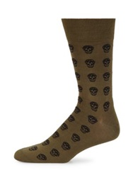 Alexander Mcqueen Skull Print Socks Black Cream Brown Blue Olive Black