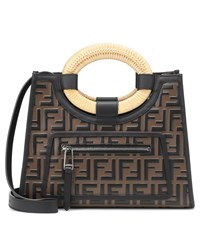 Fendi Runaway Leather Tote Brown