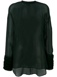 Cedric Charlier Gathered Cuffs Sheer Blouse Green