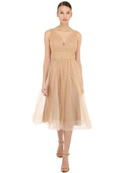 Marchesa Metallic Tulle Midi Dress Gold