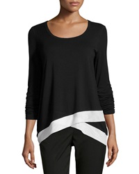 Chelsea And Theodore Ruched Sleeve Top With Mesh Blk Wht