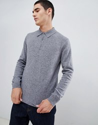 United Colors Of Benetton 100 Merino Knitted Polo In Light Grey