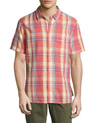 Jachs Ny Plaid Print Short Sleeve Shirt Red
